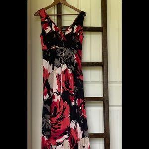 Banana Republic Roses Maxi Dress, sz S, excellent